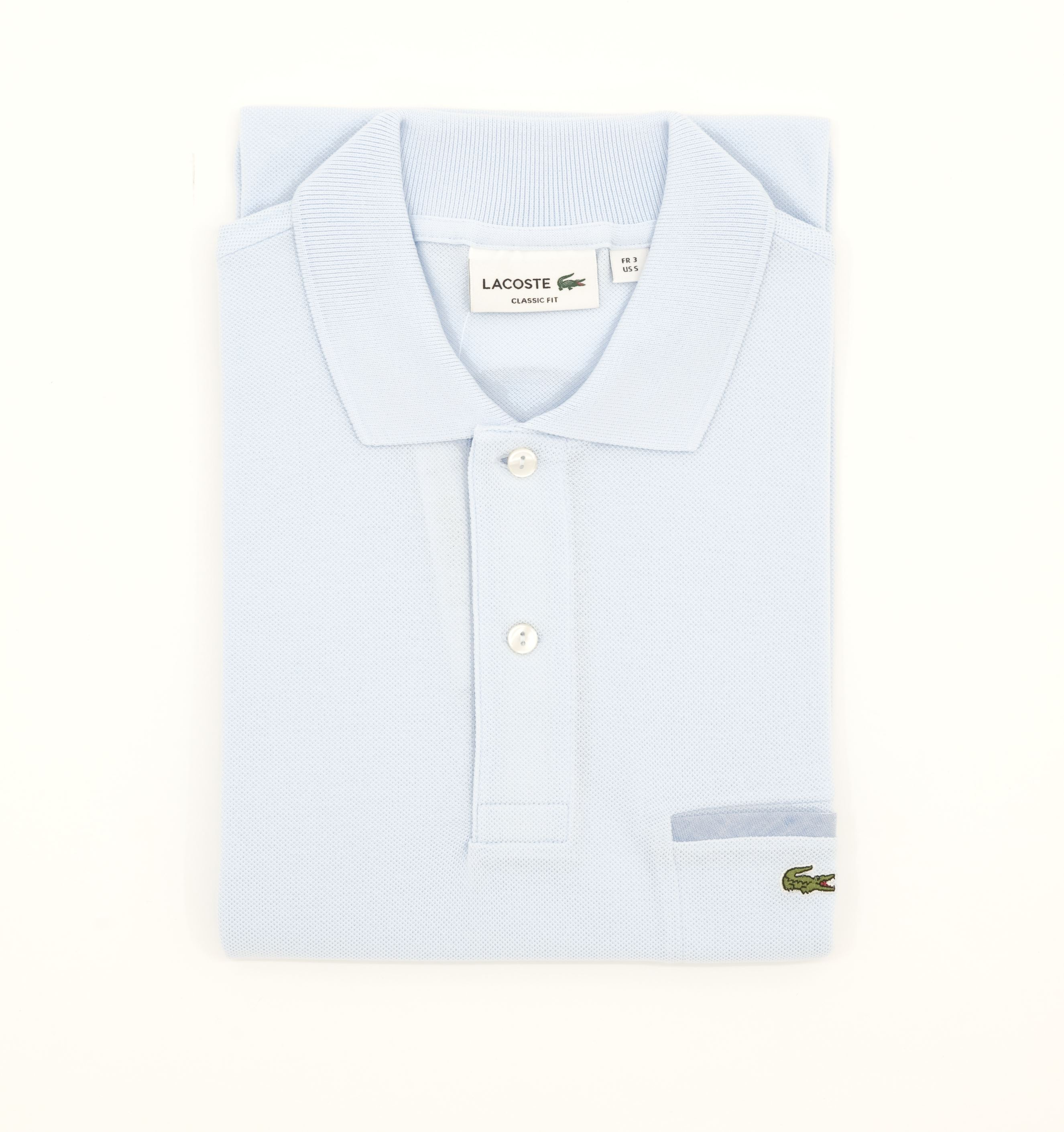 b7c4dfe1 Picture of LACOSTE POLO WITH POCKET. Picture of LACOSTE POLO WITH LIGHT BLUE  POCKET