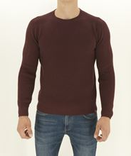 Picture of Crew neck rib knitted reversable sweater burgundy whitely