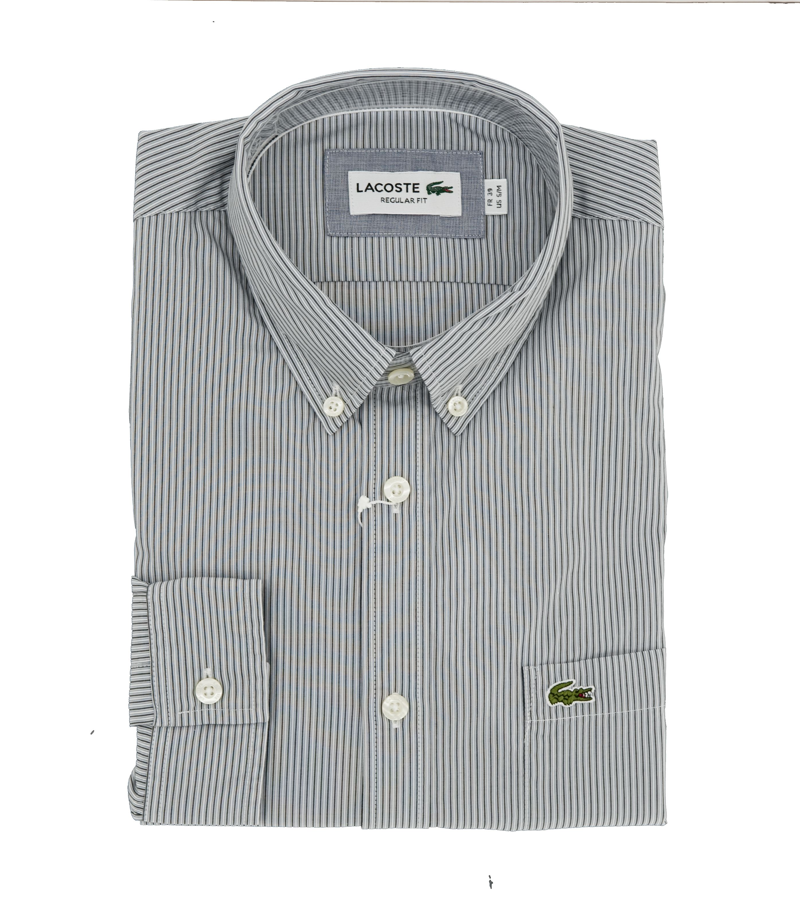 1e33116faf23c1 Lacoste long sleeves stripes shirt ch 9561 graphite moulin -blanc Regular  Fit - Floccari Store