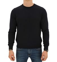 Picture of ROUND NECK STOCKINETTE STITCH SWEATER COLOUR NAVY BLUE