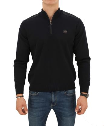 Picture of MOCK TURTLENECK SWEATER WITH ZIPPER AND SHOULDER PATCHES