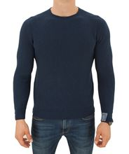 Picture of Crew neck rib knitted reversable sweater royal blue