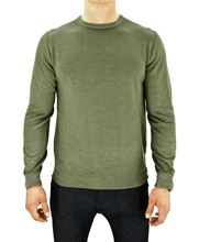 Picture of STONE-WASHED ROUND NECK MERINO SWEATER COLOUR. LIGHT GREEN