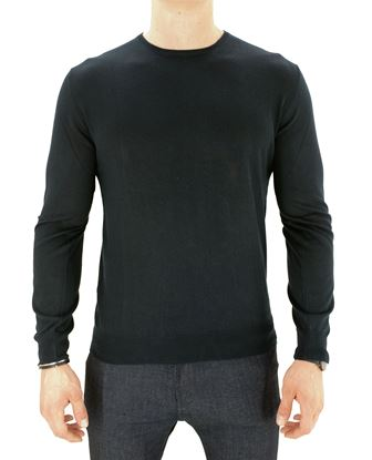 Picture of ROUND NECK SILK AND CASHMERE SWEATER COL. NAVY