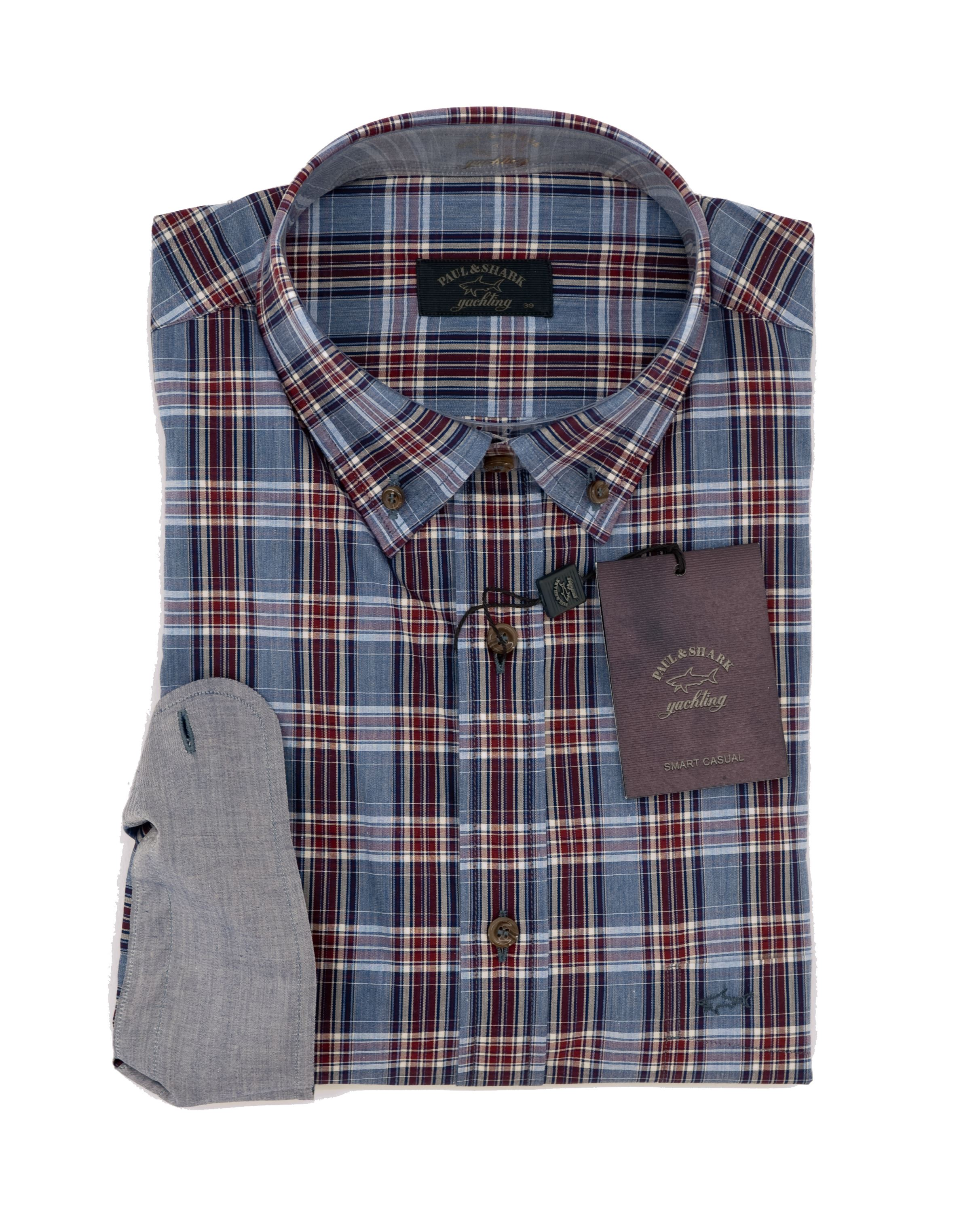 Paul   Shark checked shirt background ligh blue and burgundy Regular ... 8563ed4d3c2