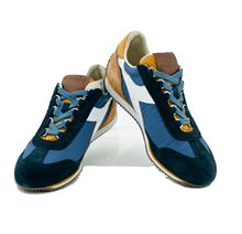Picture of LIGHT BLUE AND BLUE LEATHER SNEAKER
