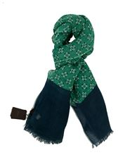 Picture of PATTERNED SCARF GREEN AND BLUE BACKGROUND