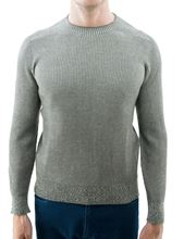 Picture of Crew neck rib knitted reversable sweater  hazelnut