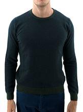 Picture of Honeycomb wool crewneck sweater dark green melange