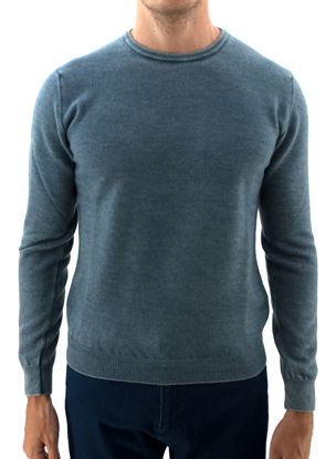 Picture of Washed crew neck wool sweater powder blue