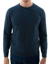 Picture of washed crew neck wool sweater blue