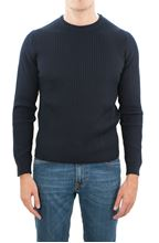 Picture of Knitted wool crewneck sweater navy blue