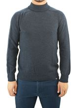 Picture of wool mock turtle neck sweater blue malange