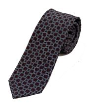 Picture of light blue and burgundy patterned tie