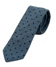 Picture of Tie blue background with dark blue polka dots