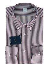 Picture of Shirt with white background with burgundy blue stripes