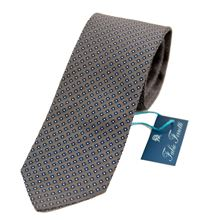 Picture of Tie with grey background and blue design