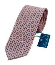 Immagine di Cravatta fondo rosa con disegno blu
