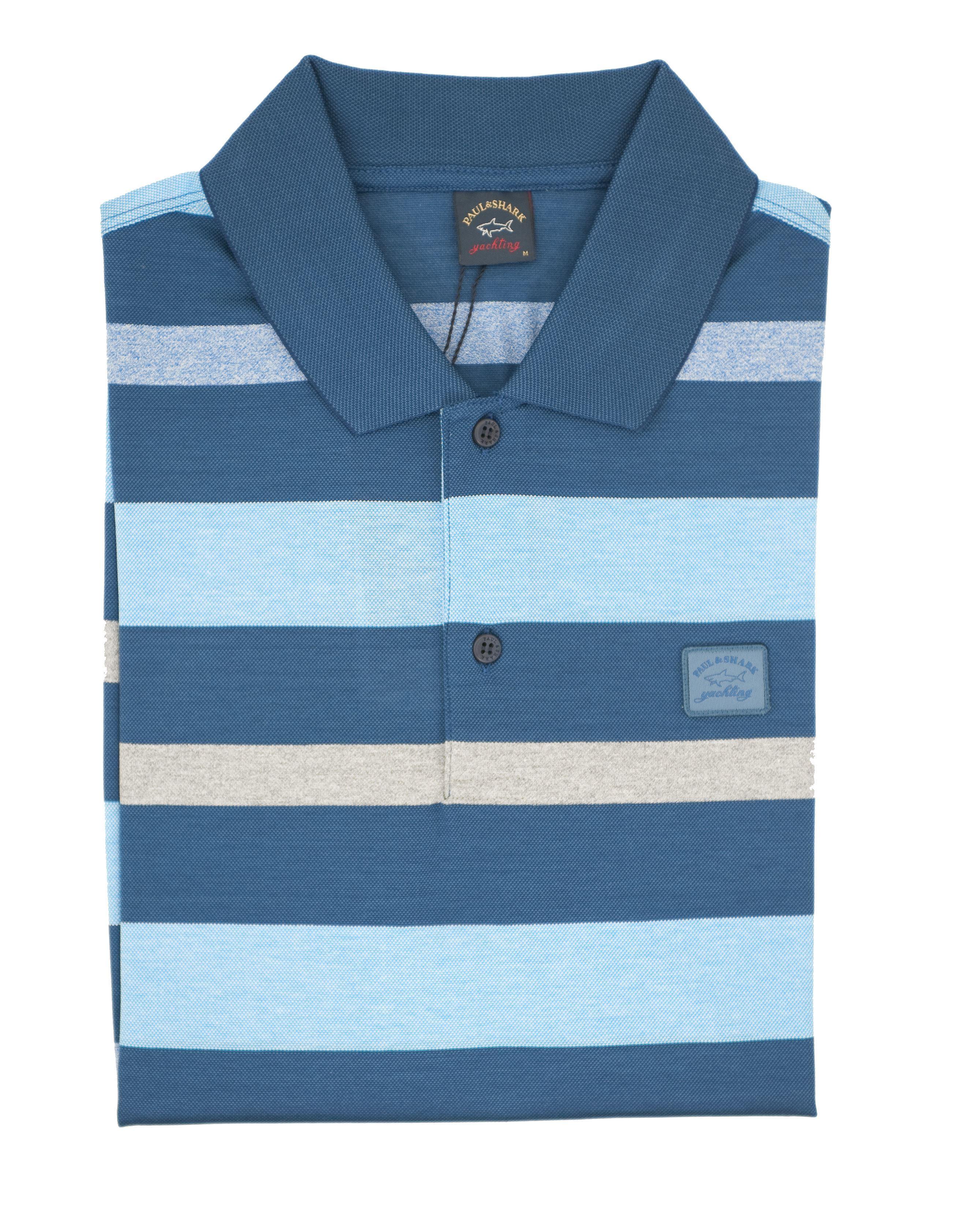 a45c230e6b Polo manica corta a righe blu azzurro e grigio