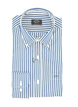 Picture of Shirt with white background, blue and yellow lines