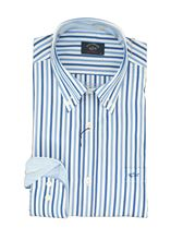 Picture of White shirt with blue and light-blue  stripes