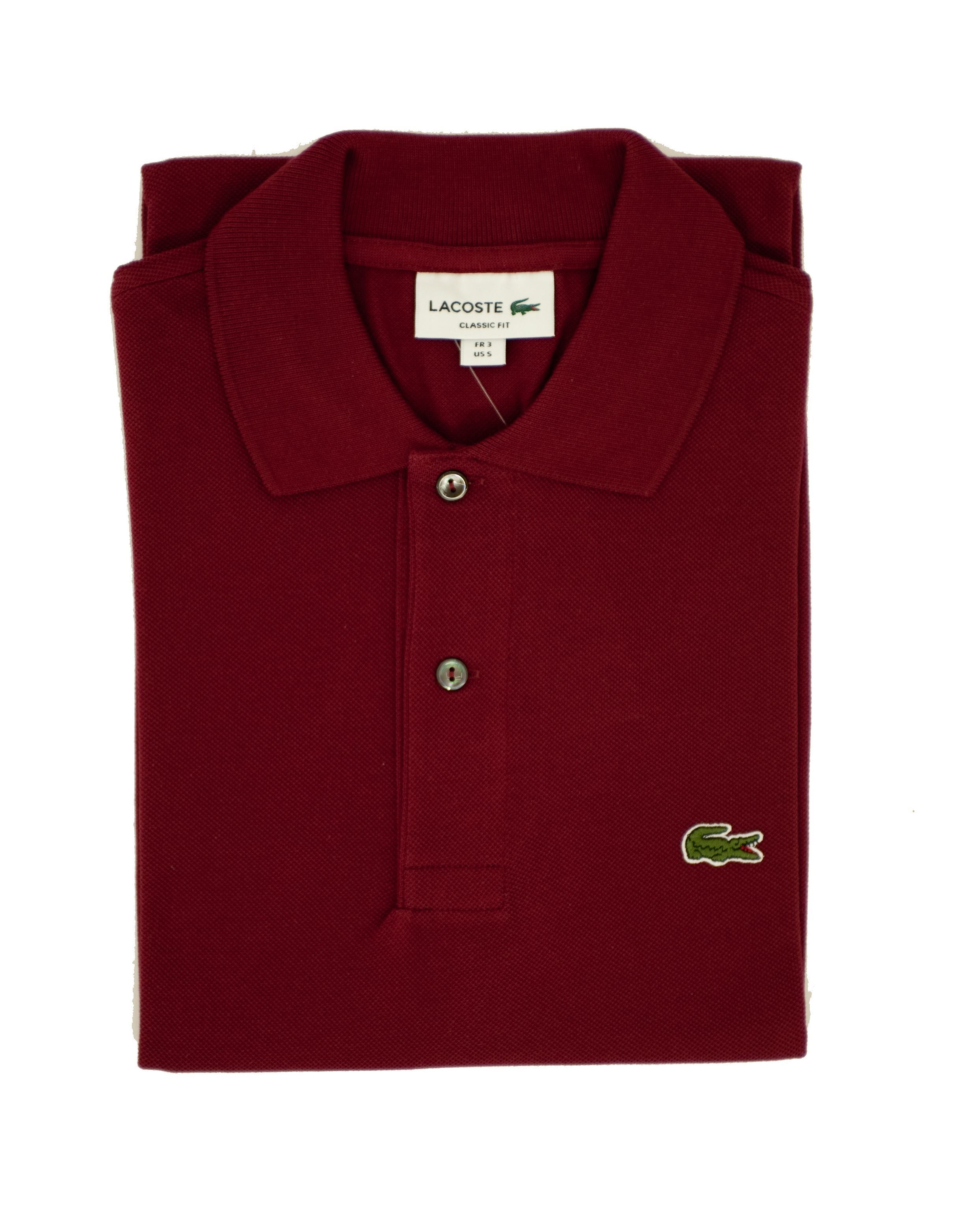 0327473649 Lacoste short-sleeved Bordeaux polo shirt