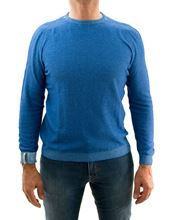 Picture of Camogli cotton and cashmere 2-shade light  blue crewneck
