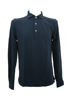 Picture of Blue cotton long-sleeved polo shirt