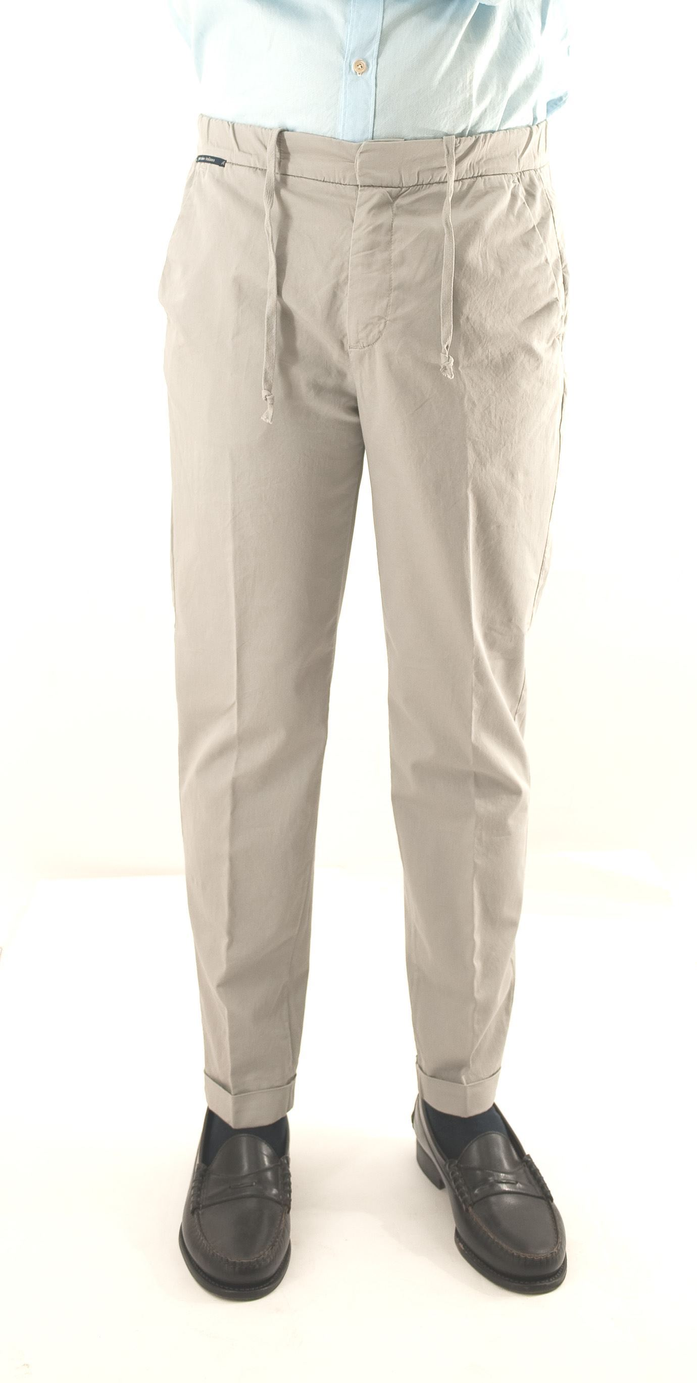 Picture of Ash colored cotton trousers with drawstring