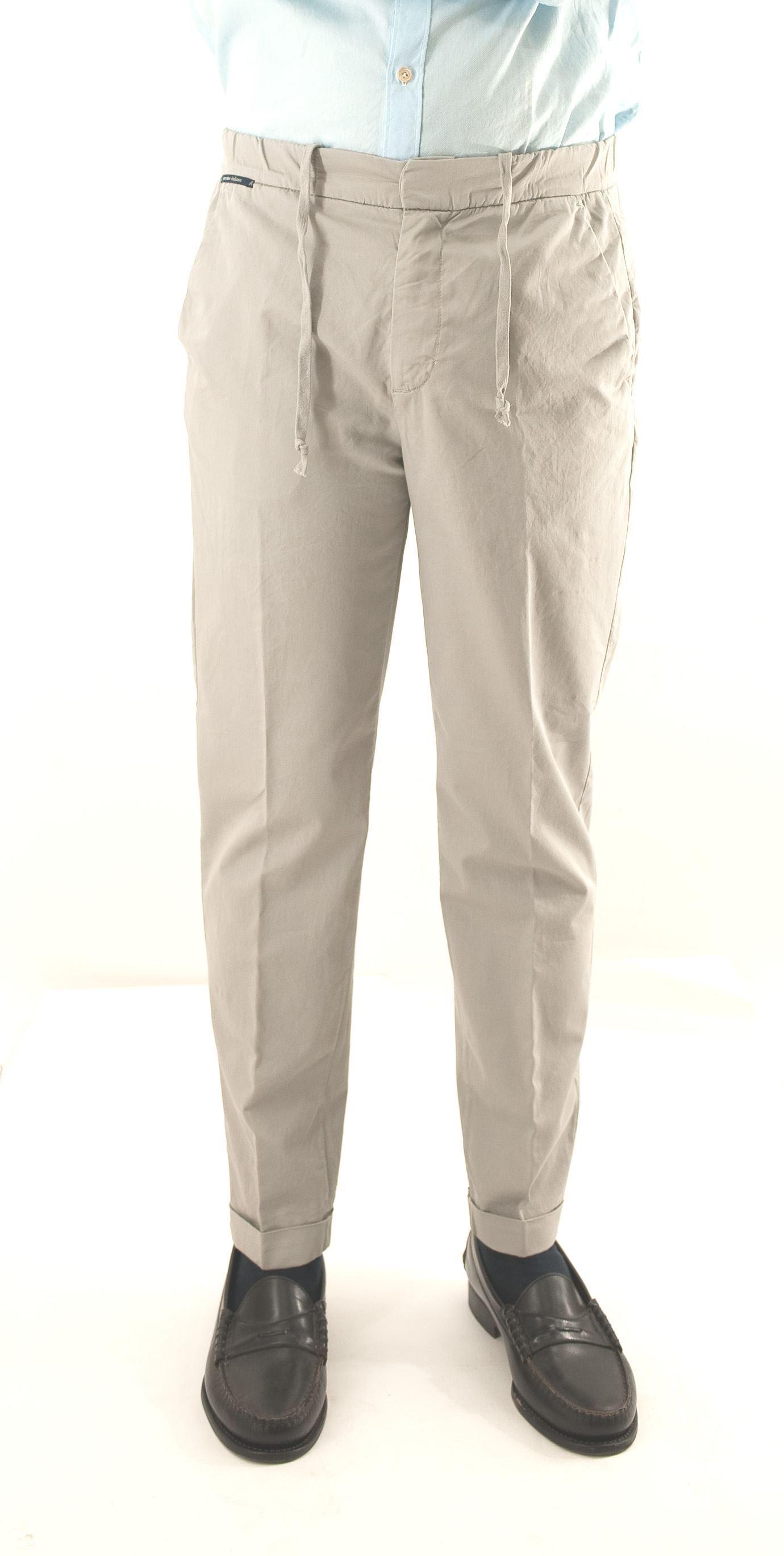 Immagine di Pantalone color cenere in cotone con coulisse