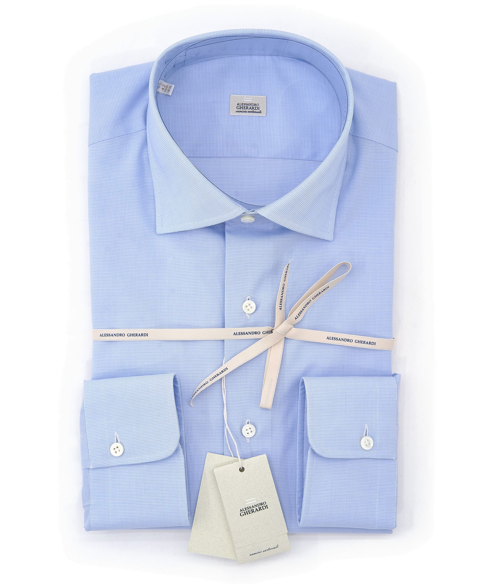 Picture of Micro pattern shirt with sky blue background