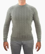 Picture of braided crewneck sweater dove gray color