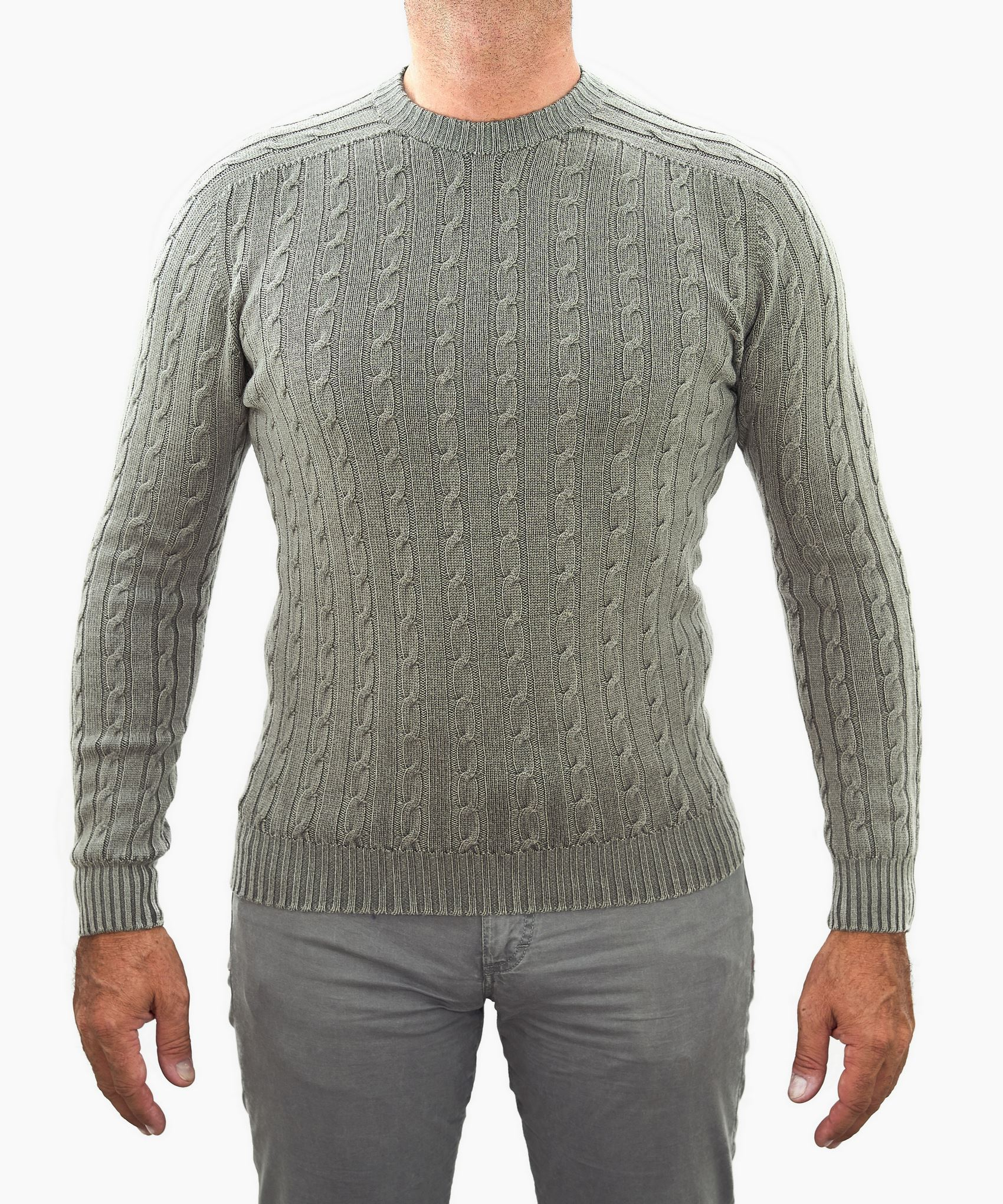 Immagine di Maglia lana girocollo reversibile a trecce
