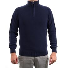 Picture of Blue ribbed turtle-neck sweater