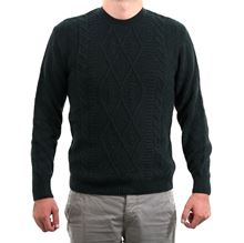 Picture of Dark green cable stitch crew-neck sweater