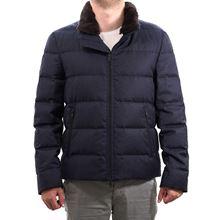 Immagine di Piumino blu corto in lana