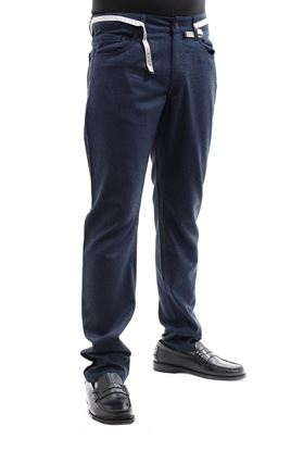 Picture of Trousers with 5 pockets in blue wool