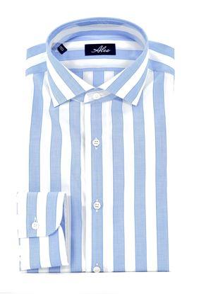 Immagine di camicia manica lunga a righe larghe