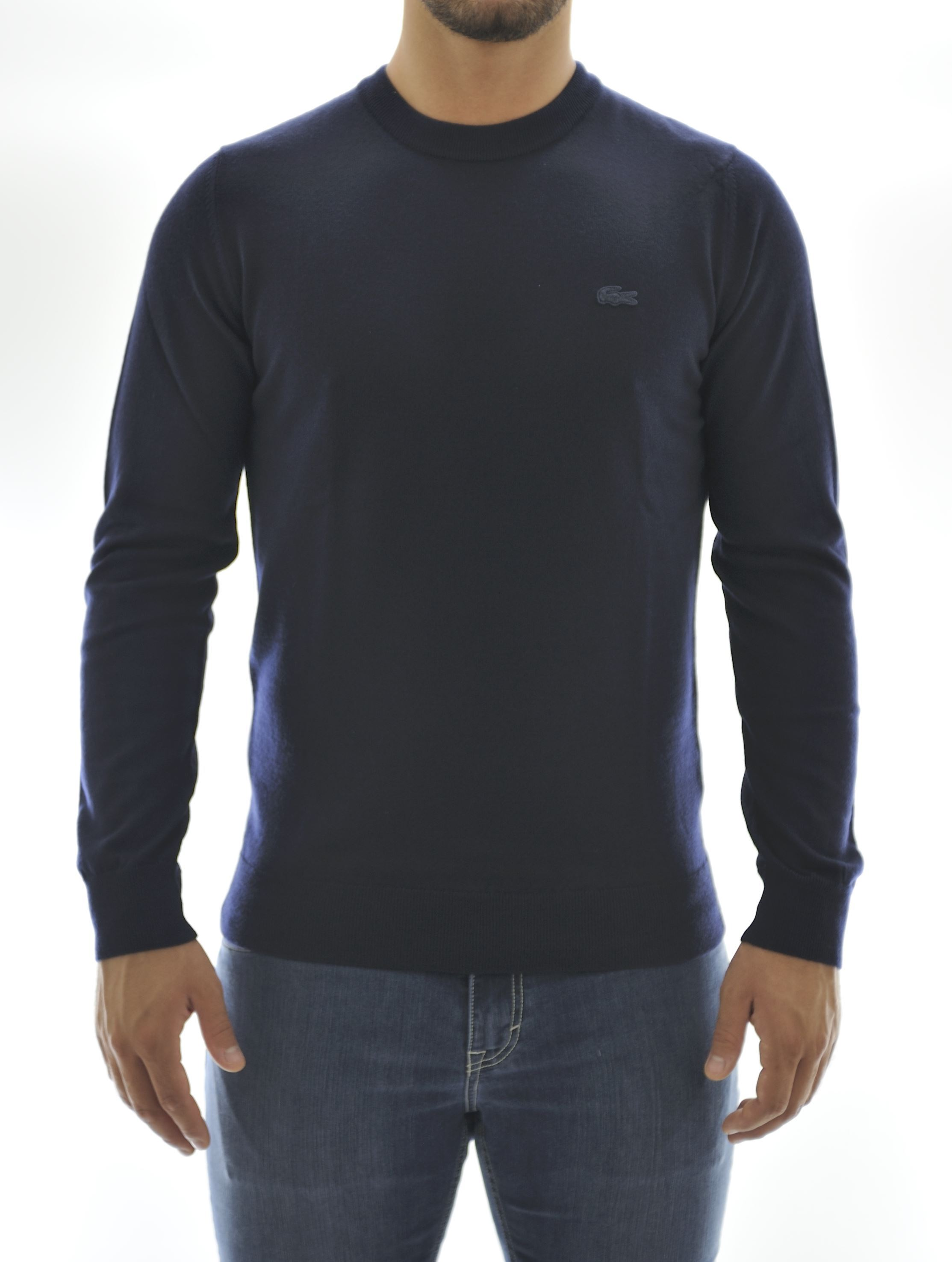 Picture of Marine blue wool crewneck sweater