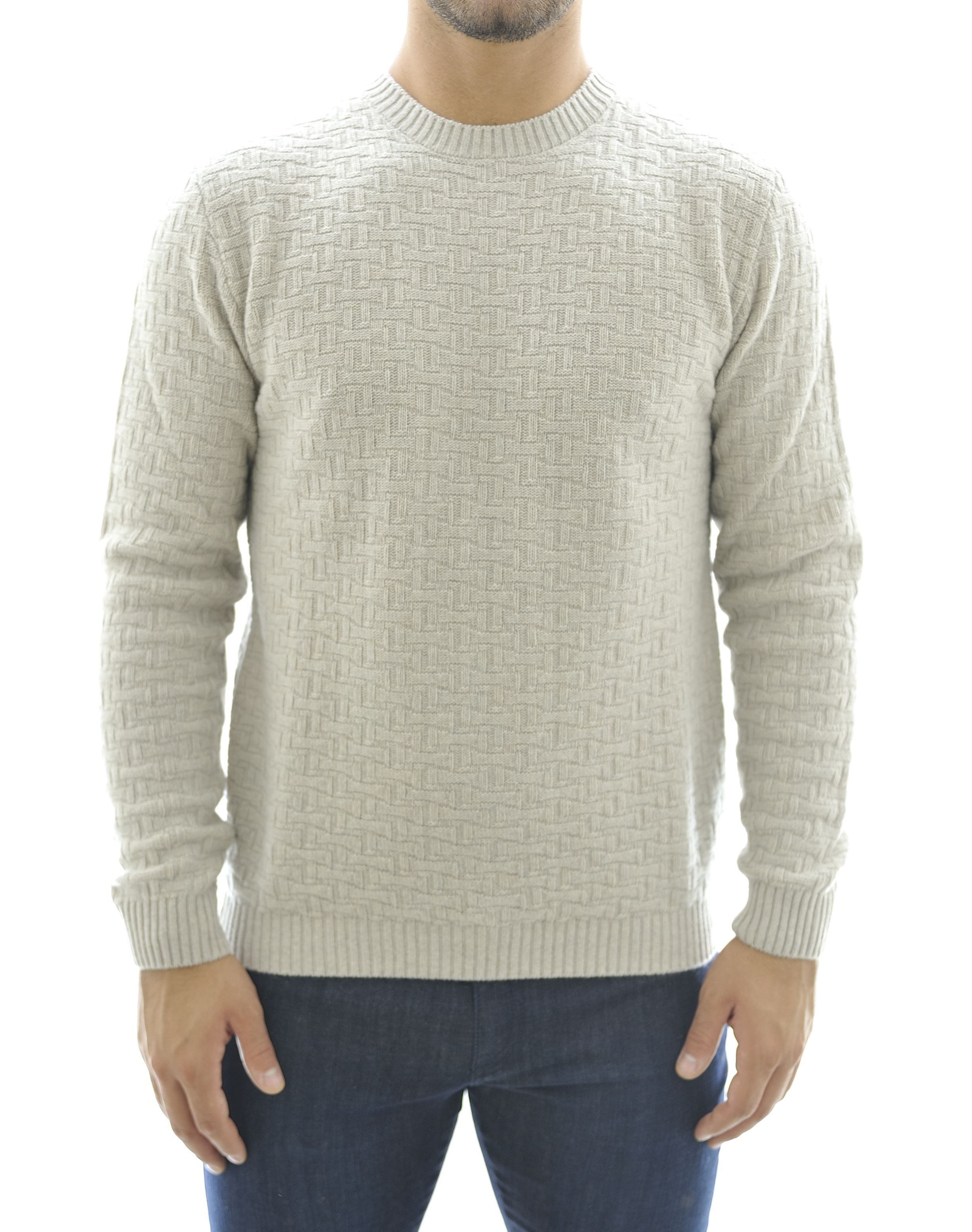 Picture of Crewneck sweater with marquetry pattern