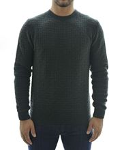 Picture of Dark green crewneck sweater with marquetry pattern