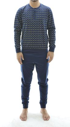 Picture of Men's Pyjamas, pattern on blue background