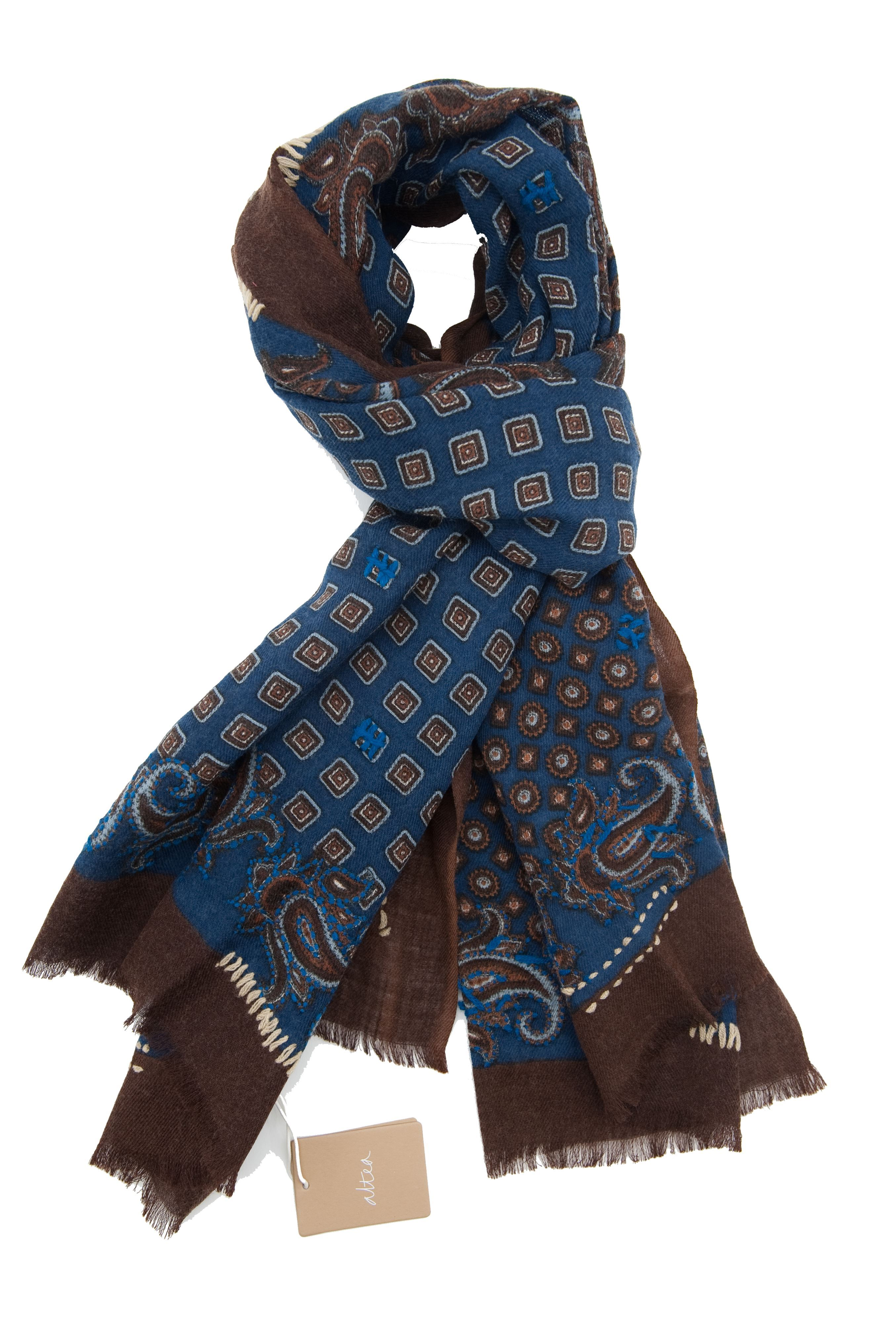 Picture of Wool scarf blue and brown background