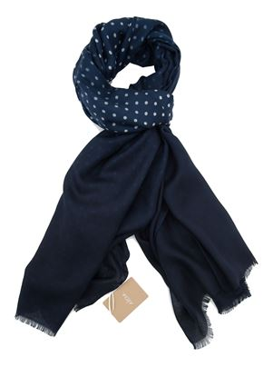 Picture of blue background scarf with white polka dot pattern