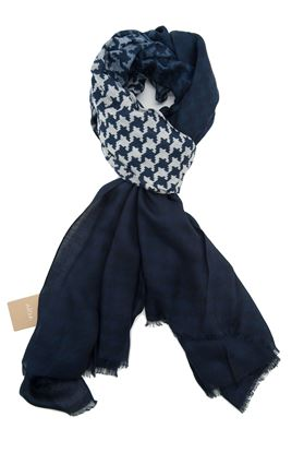 Picture of Altea  scarf blue background with white geometric pattern