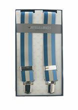Immagine di Bretelle in elastici a righe blu beige e celeste
