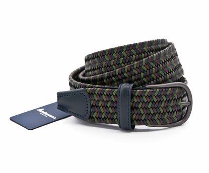 Immagine di Cintura intrecciata in pelle blu verde marrone