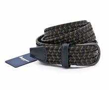 Immagine di Cintura in pelle intrecciata elastica blu verde marrone