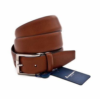 Immagine di Cintura in pelle saffiano marrone