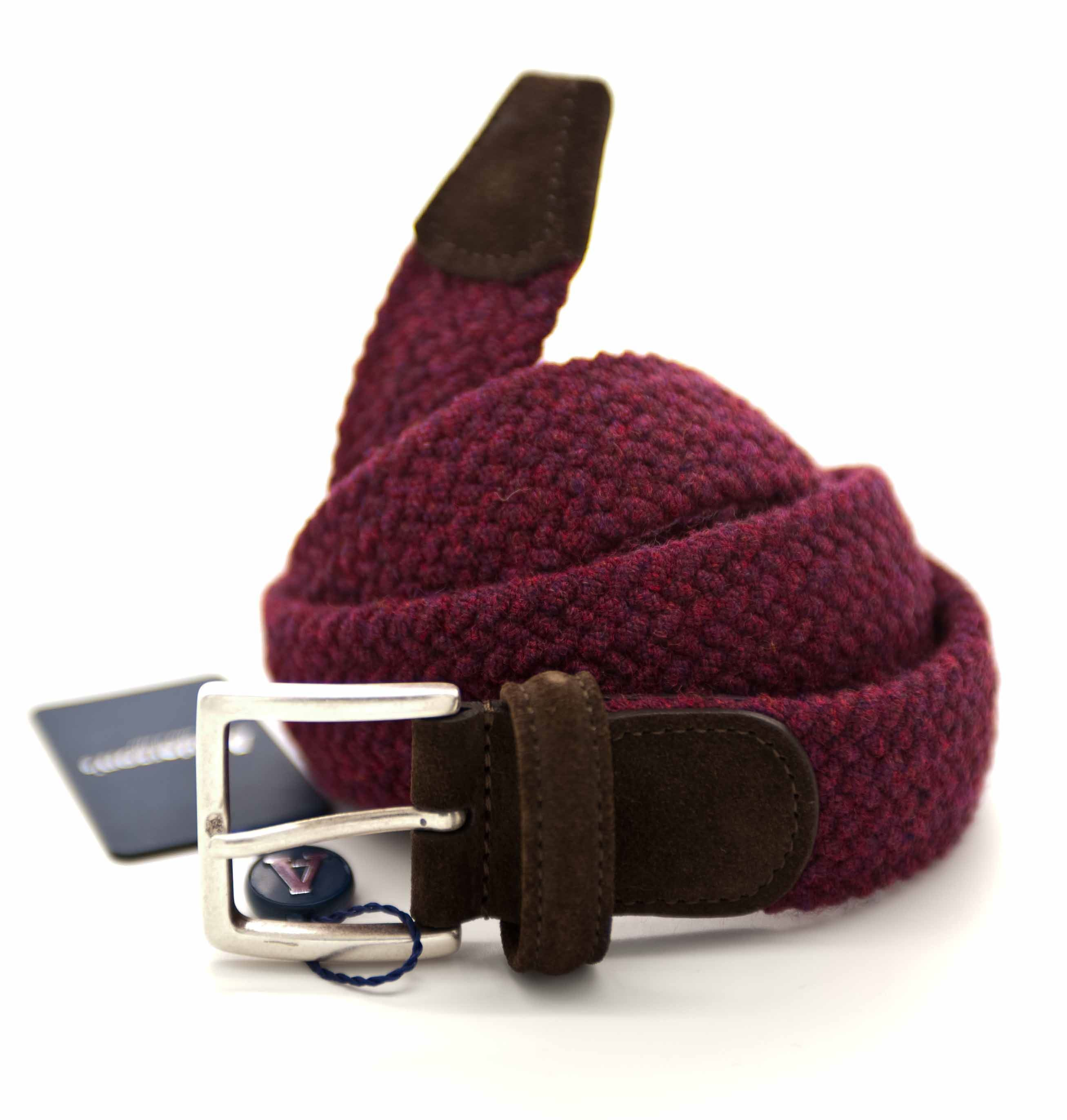 Picture of Burgundy braided stretch wool belt